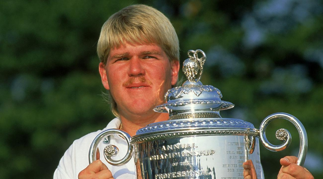 John Daly holds the Wanamaker trophy after winning the 1991 PGA Championship.