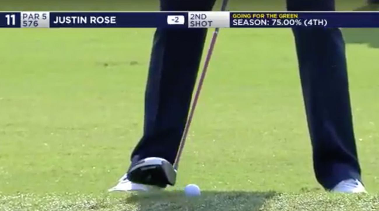 This version of 'driver off the deck' didn't go as planned for Justin Rose on the par-5 11th at TPC Louisiana.