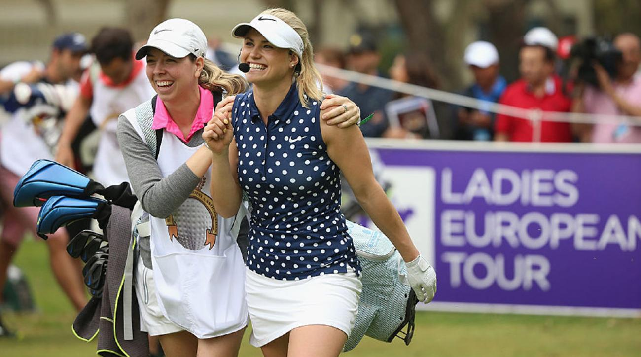 Carly Booth of Scotland and her caddie share a joke during a mixed exhibition match prior to the start of the Trophee Hassan II at Royal Golf Dar Es Salam on May 4, 2016 in Rabat, Morocco.