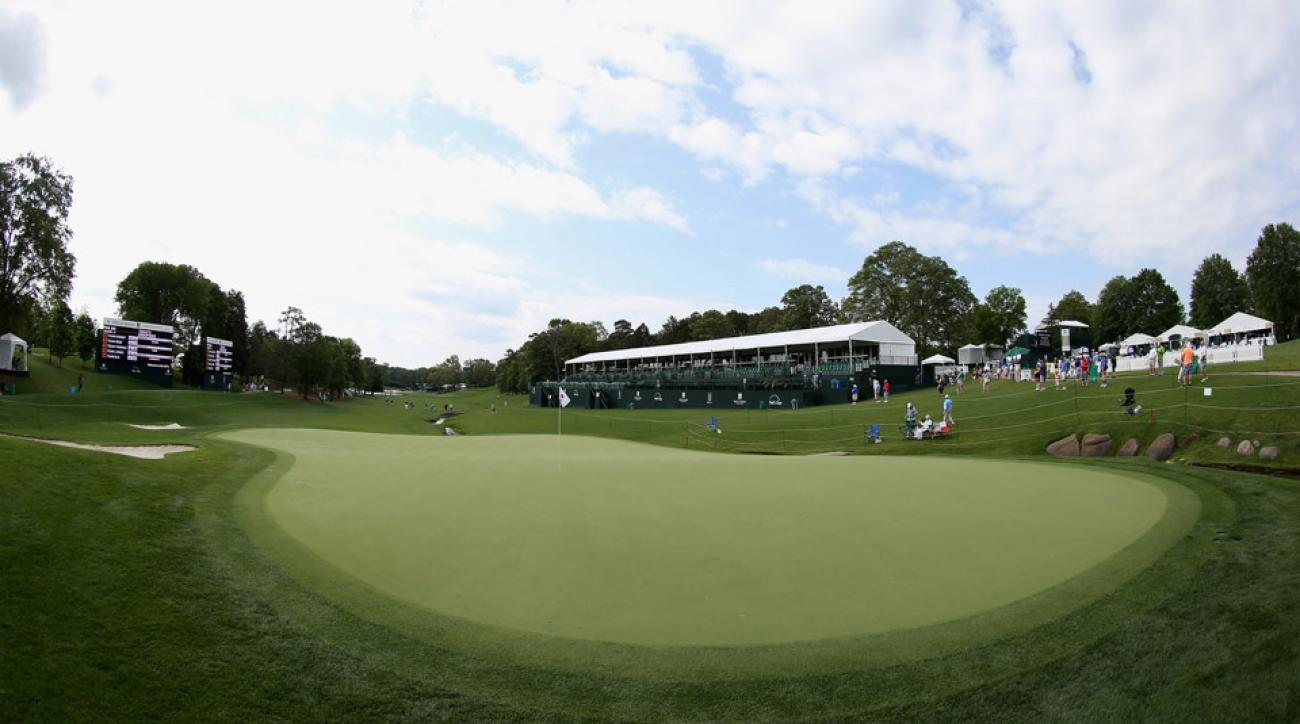 The 18th hole at Quail Hollow during Wednesday practice rounds at the Wells Fargo Championship.