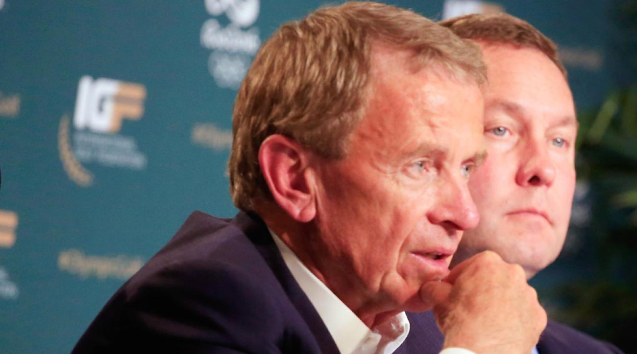 PGA Tour commissioner Tim Finchem (left) and LPGA Tour commissioner Michael Whan speak with the media about Olympic golf in Rio prior to the start of the Players Championship at TPC Sawgrass on Tuesday in Ponte Vedra Beach, Florida.