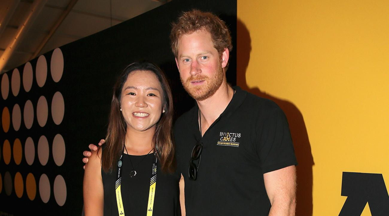 Prince Harry poses with golfer Lydia Ko during a reception for the Invictus Games Foundation at the Invictus Games Orlando 2016 at ESPN Wide World of Sports on May 9, 2016 in Orlando, Florida.