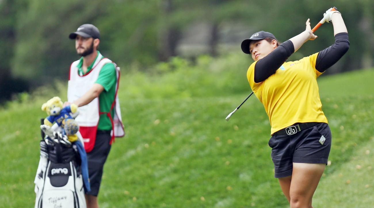 Ariya Jutanugarn hits from the ninth tee during the third round of the 2016 LPGA Kingsmill Championship.