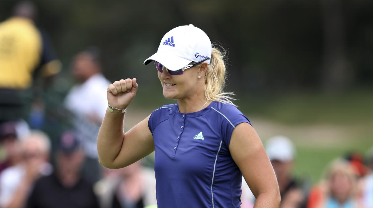 Anna Nordqvist, of Sweden, celebrates her putt on the 18th to win the ShopRite LPGA Classic golf tournament, Sunday, June 5, 2016, in Galloway Township, N.J. (AP Photo/Mel