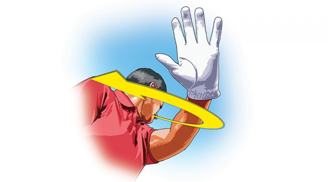 To avoid an overly steep backswing, swing your left hand back and across your chest.