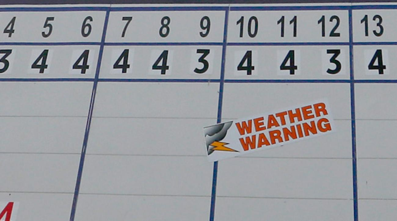 Thunderstorms have stopped third-round play at the PGA Championship.