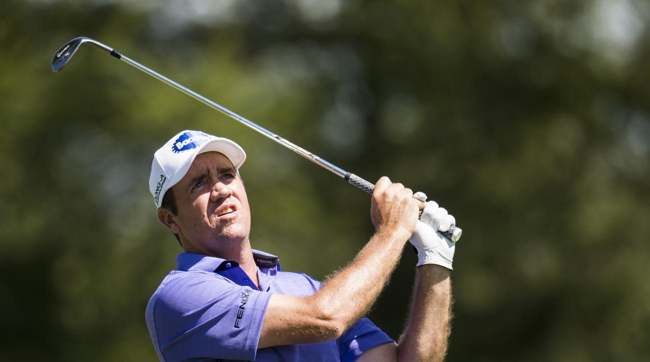Scott Hend of Australia tees off  during the third round of the Omega European Masters Golf Tournament in Crans-Montana, Switzerland, Saturday, Sept. 3, 2016. (Jean-Christophe Bott/Keystone via