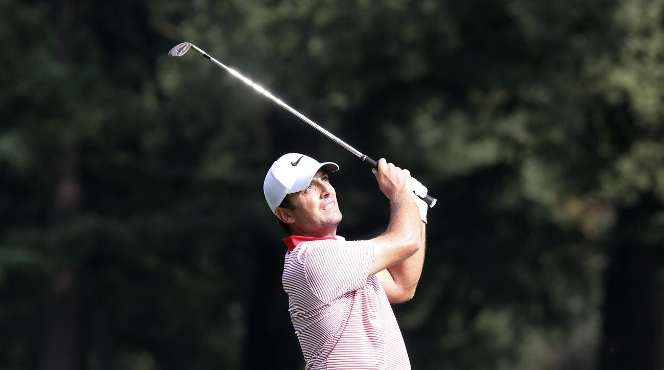 Italy's Francesco Molinari hits the ball during the 73th Italy Open Golf Championship in Monza, Italy, Thursday, Sept. 15, 2016. (AP Photo/Antonio