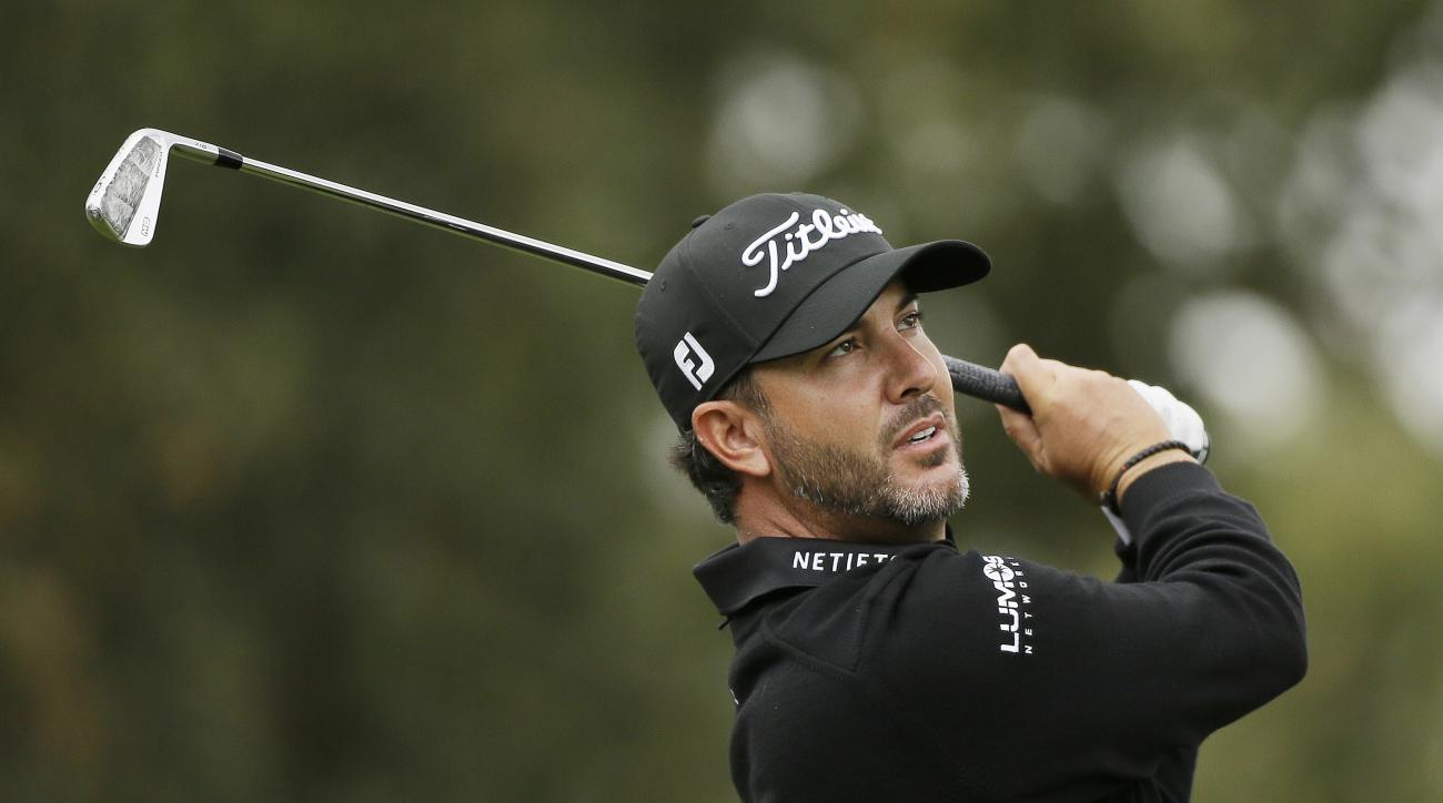 Scott Piercy follows his shot from the second tee of the Silverado Resort North Course during the second round of the Safeway Open PGA golf tournament Friday, Oct. 14, 2016, in Napa, Calif. (AP Photo/Eric