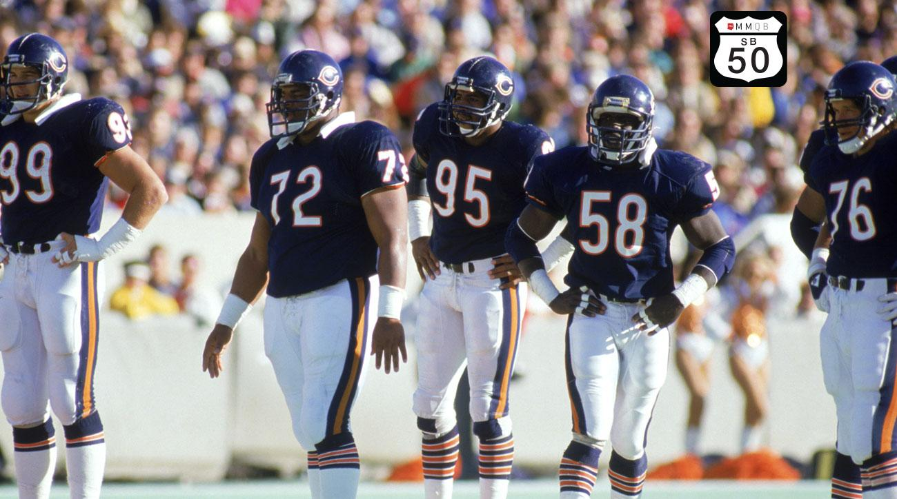 Dan Hamton, William Perry, Richard Dent, Wilber Marshall and Steve McMichael of the 1985 Chicago Bears.