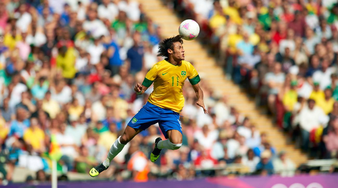 Neymar heads the ball during Brazil's gold medal match against Mexico on Aug. 11, 2012 in the Summer Olympics at Wembley Stadium in London. Brazil lost 2-1.