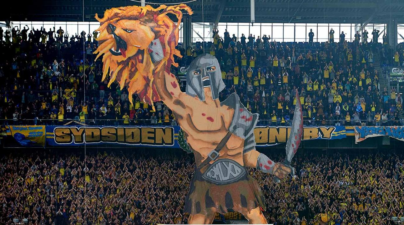 Brondby IF fans display a gladiator holding up a lion's head during the team's Danish Alka Superliga match against FC Copenhagen, whose logo is a lion's head, on September 27, 2015.