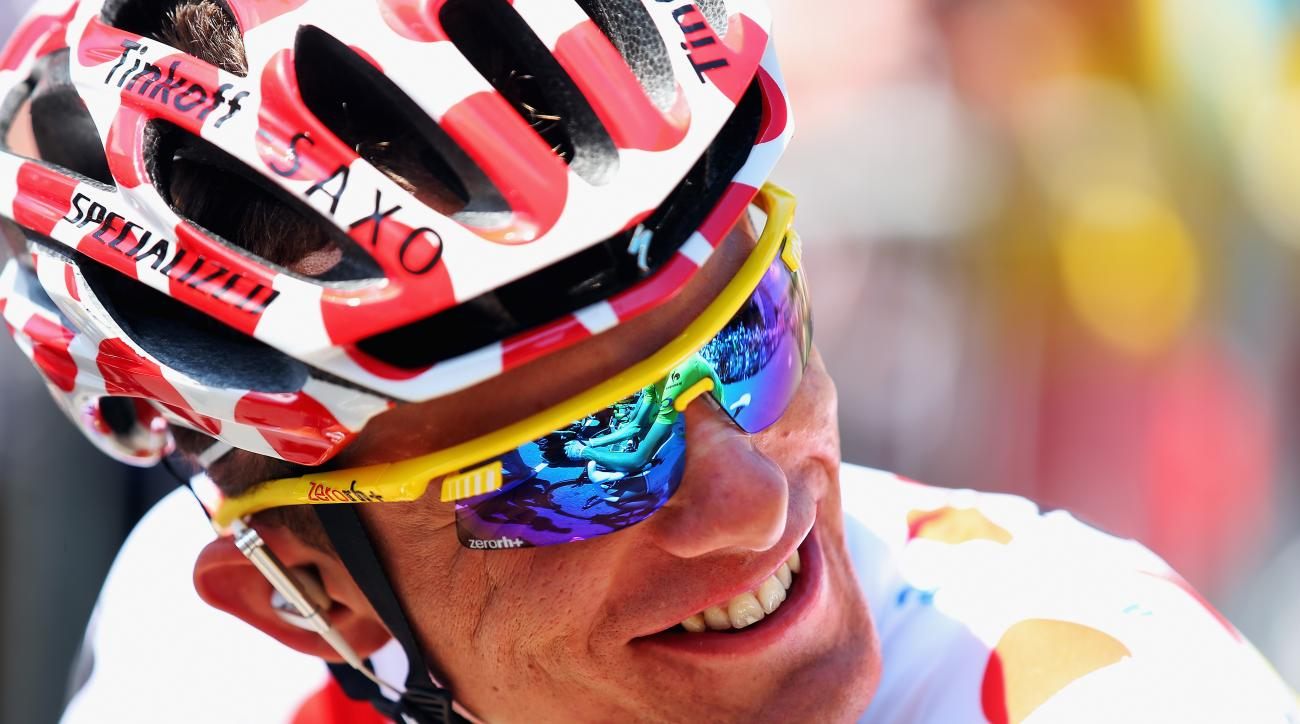 Rafal Majka of Poland smiles ahead of the seventeenth stage of the 2014 Tour de France, a 125km stage between Saint-Gaudens and Saint-Lary-Soulan Pla d'Adet, France.