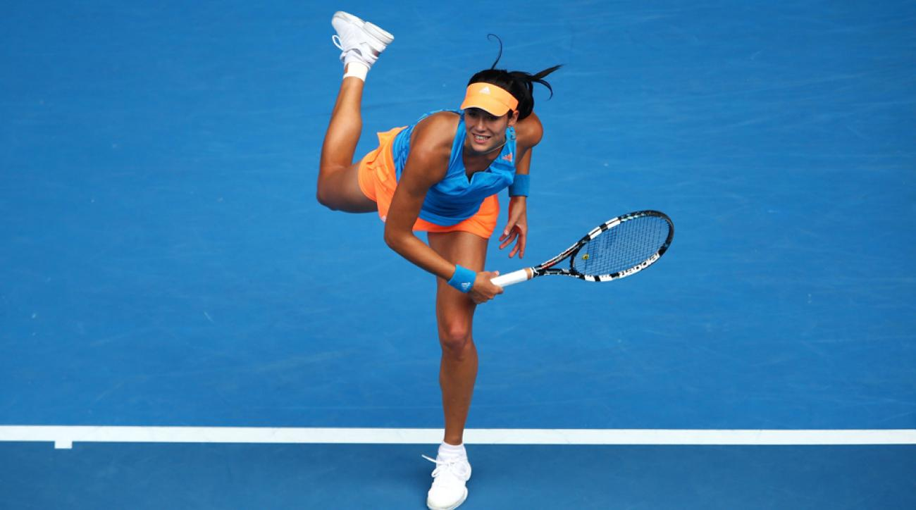 Garbine Muguruza serves in her third round match against Caroline Wozniacki during day six of the 2014 Australian Open in January 2014.