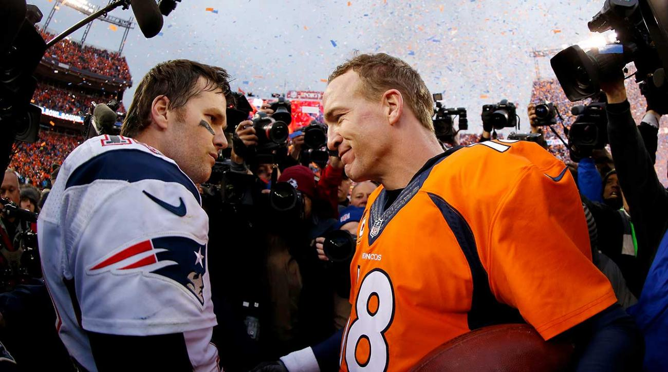 Peyton Manning  and Tom Brady speak after Denver's 20-18 victory in the AFC Championship game.