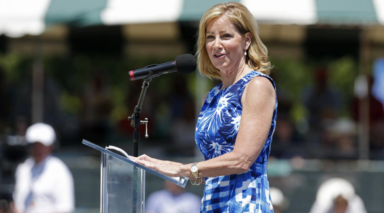 Chris Evert speaks during the induction ceremony at the International Tennis Hall of Fame in Newport, R.I., in July, 2014.