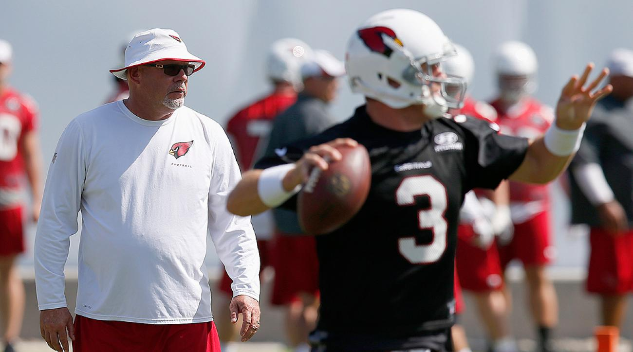 Arizona coach Bruce Arians (left) and Carson Palmer hope it's time for the Cardinals' offense to ascend to a new level.