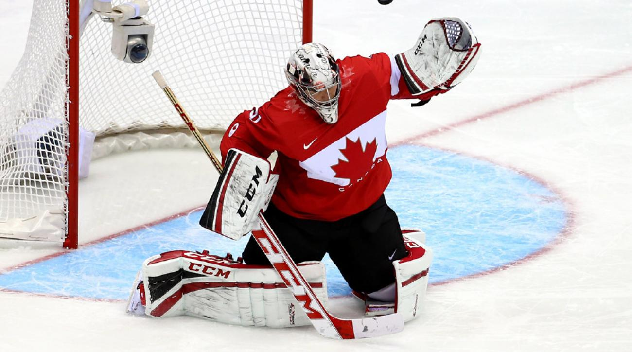 Carey Price #31 of Canada makes a save against Norway during the Men's Ice Hockey Preliminary Round Group B game on day six of the Sochi 2014 Winter Olympics at Bolshoy Ice Dome on February 13, 2014 in Sochi, Russia.