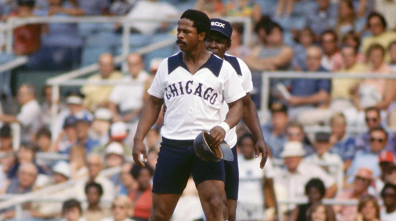 White Sox outfielder Ralph Garr models the shorts worn by the team for three games during the 1976 season.