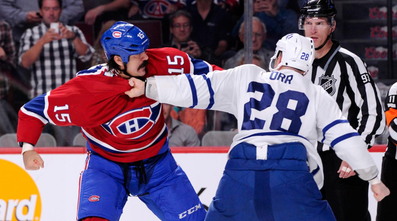 3fb98c108f2 An opening night fight between George Parros and Colton Orr kept hockey s  fight debate simmering.