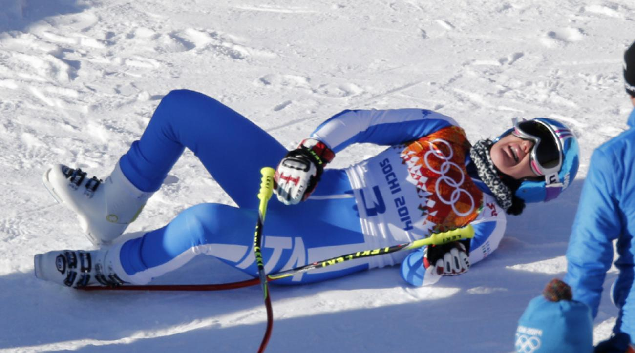Training runs were postponed shortly after Daniela Merighetti of Italy hurt both knees while landing.