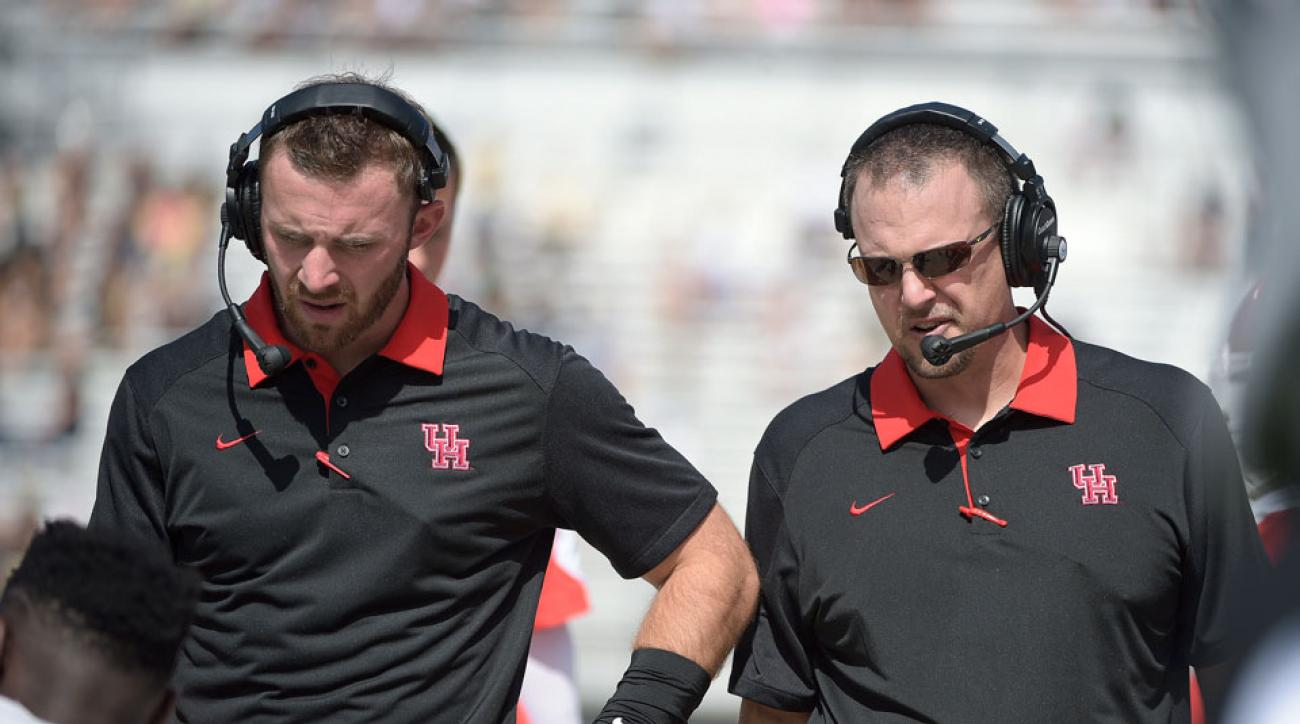 Mehringer (left), worked with former Ohio State coach Tom Herman (right) at Houston.