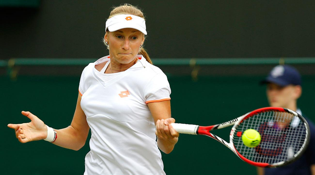 Ekaterina Makarova held Agnieszka Radwanska to just three games during their fourth-round match at Wimbledon.