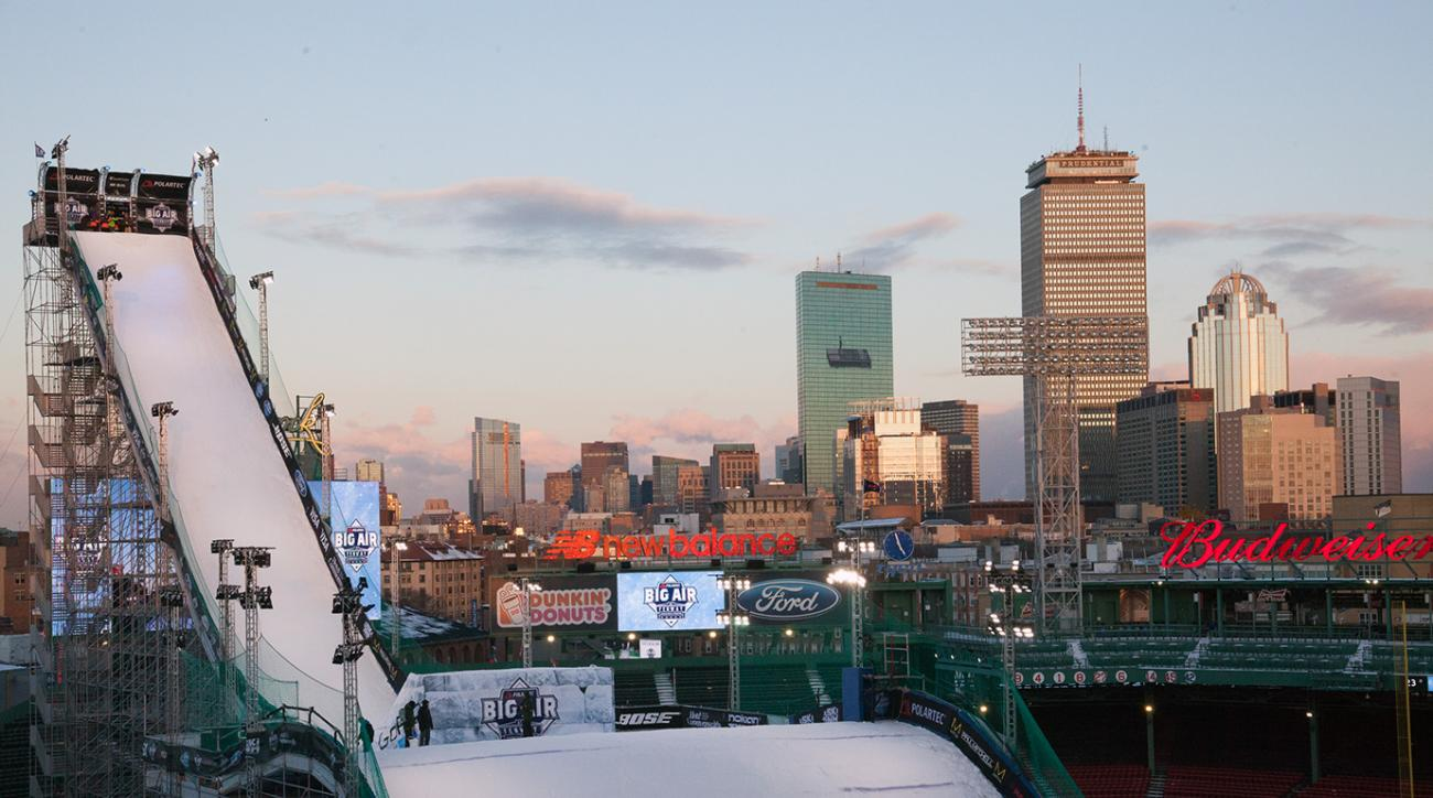 The Big Air ramp as the sun set over Fenway Park.
