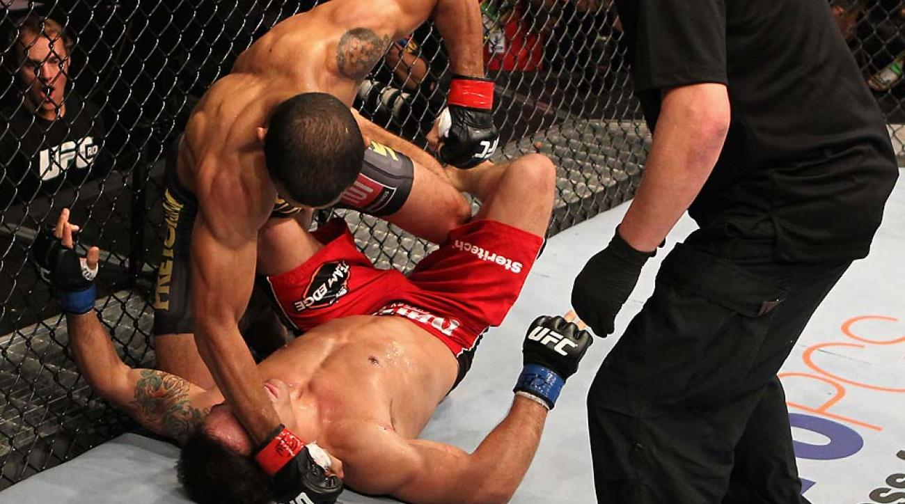 Jose Aldo (top) made quick work of Chad Mendes in their January 2012 matchup.