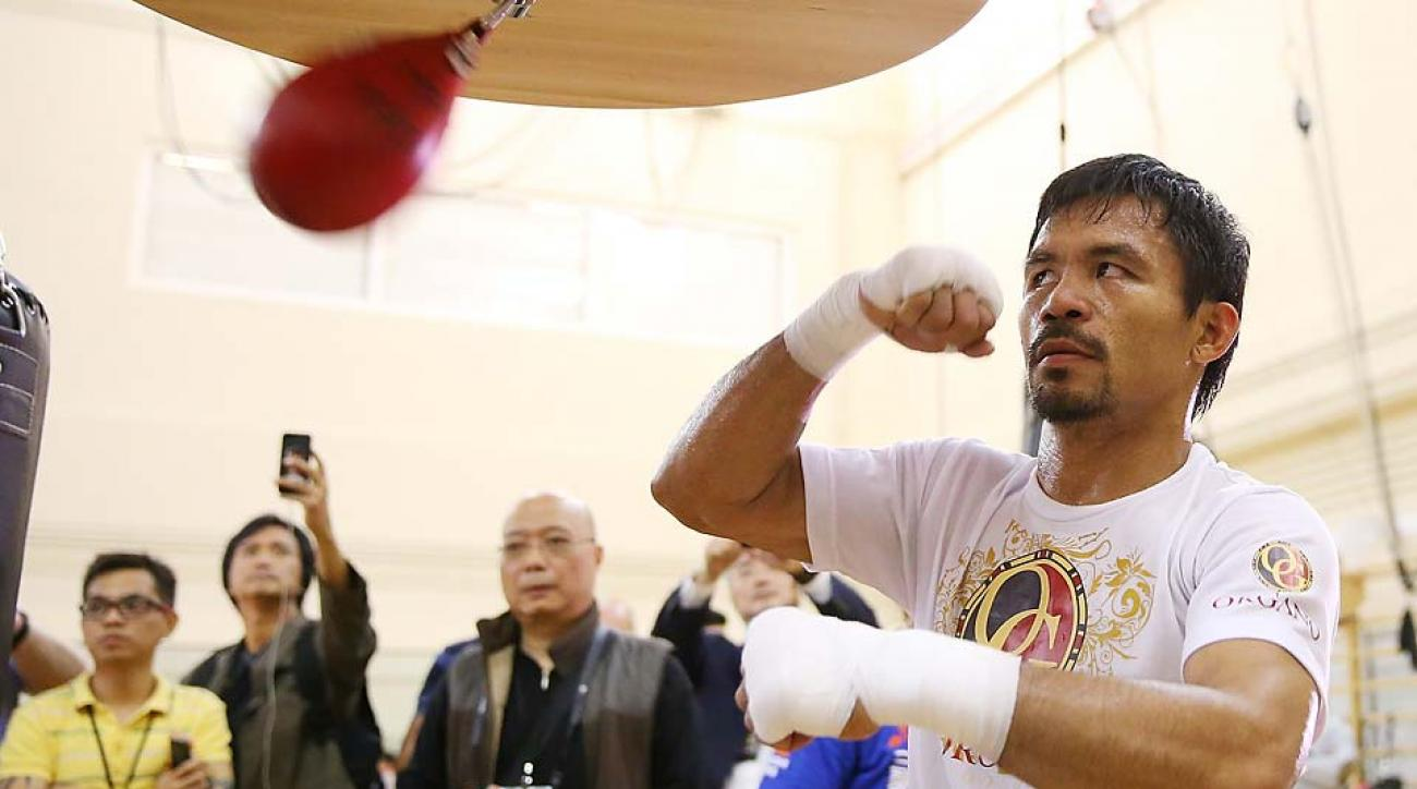 Manny Pacquiao trains during a workout session at The Venetian in Macau, Macau.