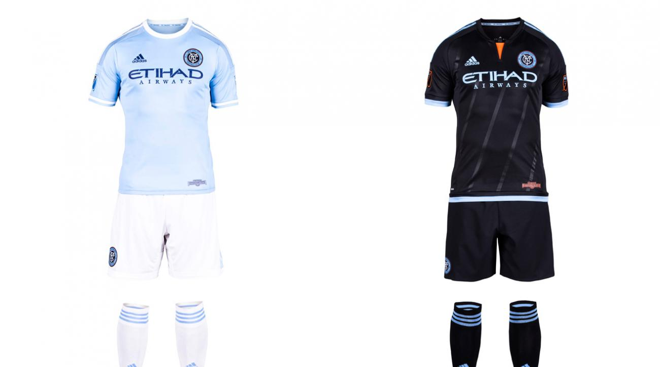 """New York City FC took some heat for its sky blue home shirt, which looks a whole lot like the one worn by parent/sister club Manchester City. But an homage was inevitable, and NYCFC has differentiated itself from MCFC, and the rest of MLS, with the white shorts and socks. It's a sharp look. The away kit, highlighted by a flash of orange (from the city flag) at the neck and five stripes you can barely see that """"represent the five boroughs of New York City,"""" is lazy. With a blank template, NYCFC should've come up with something other than the mono-black already worn in D.C. and Columbus."""