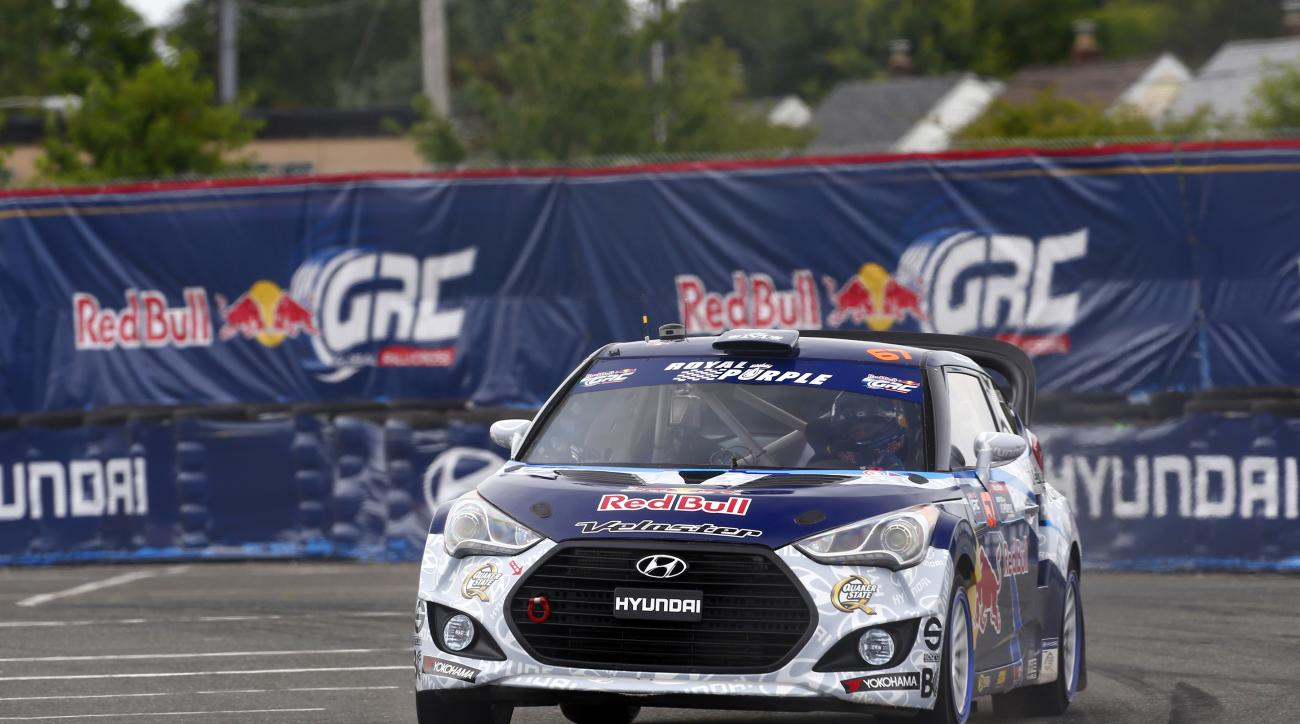 Rhys Millen at the fourth stop of the Red Bull Global Rallycross series.