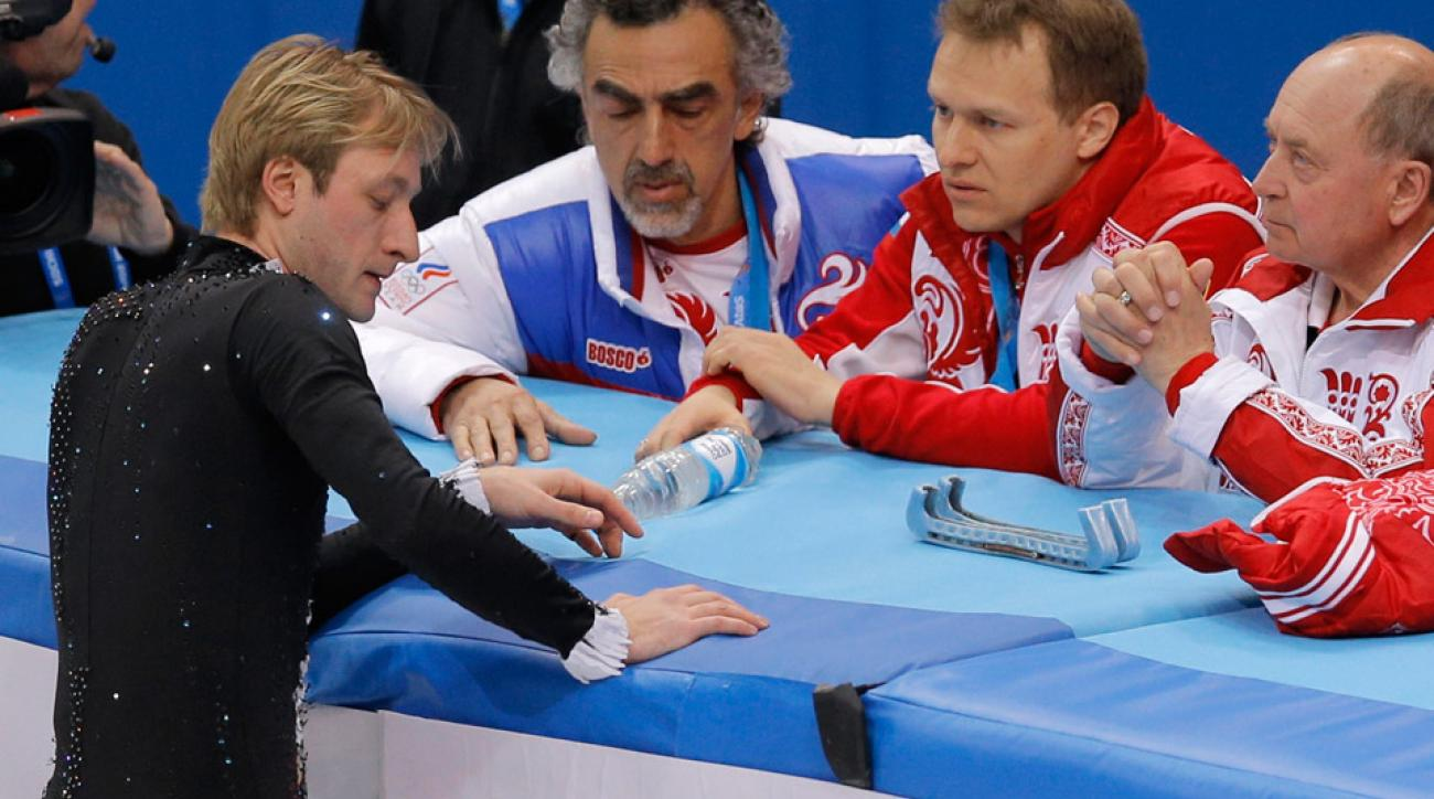 Back pain was too much for figure skater Evgeni Plushenko, who was Russia's only mens singles skater.