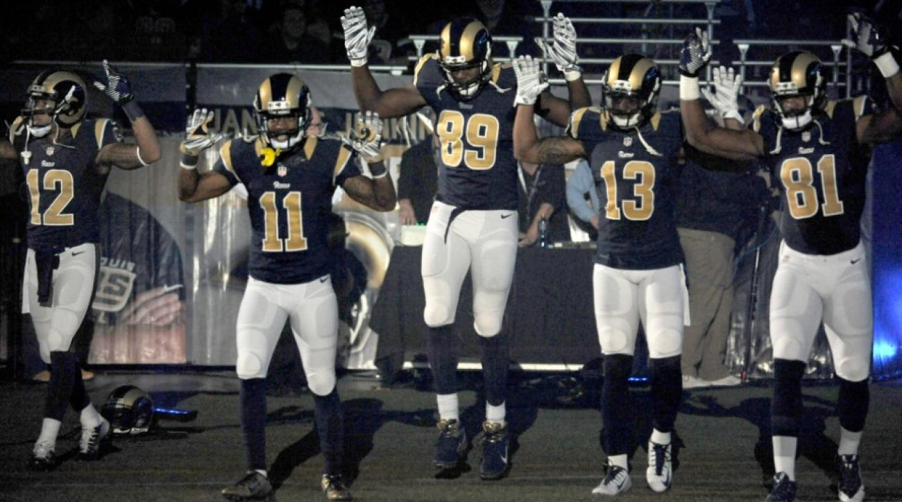 """Ferguson protests: Rams CEO Kevin Demoff denies apologizing to St. Louis police for players' """"hands up don't shoot"""" gesture"""