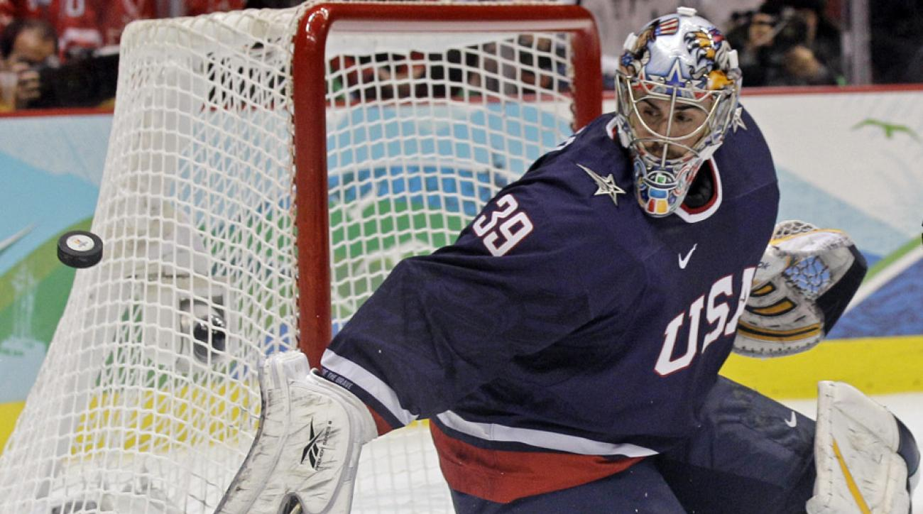 U.S. goalie Ryan Miller makes a save in the first period of the men's gold-medal ice hockey game against Canada at the 2010 Olympics in Vancouver.