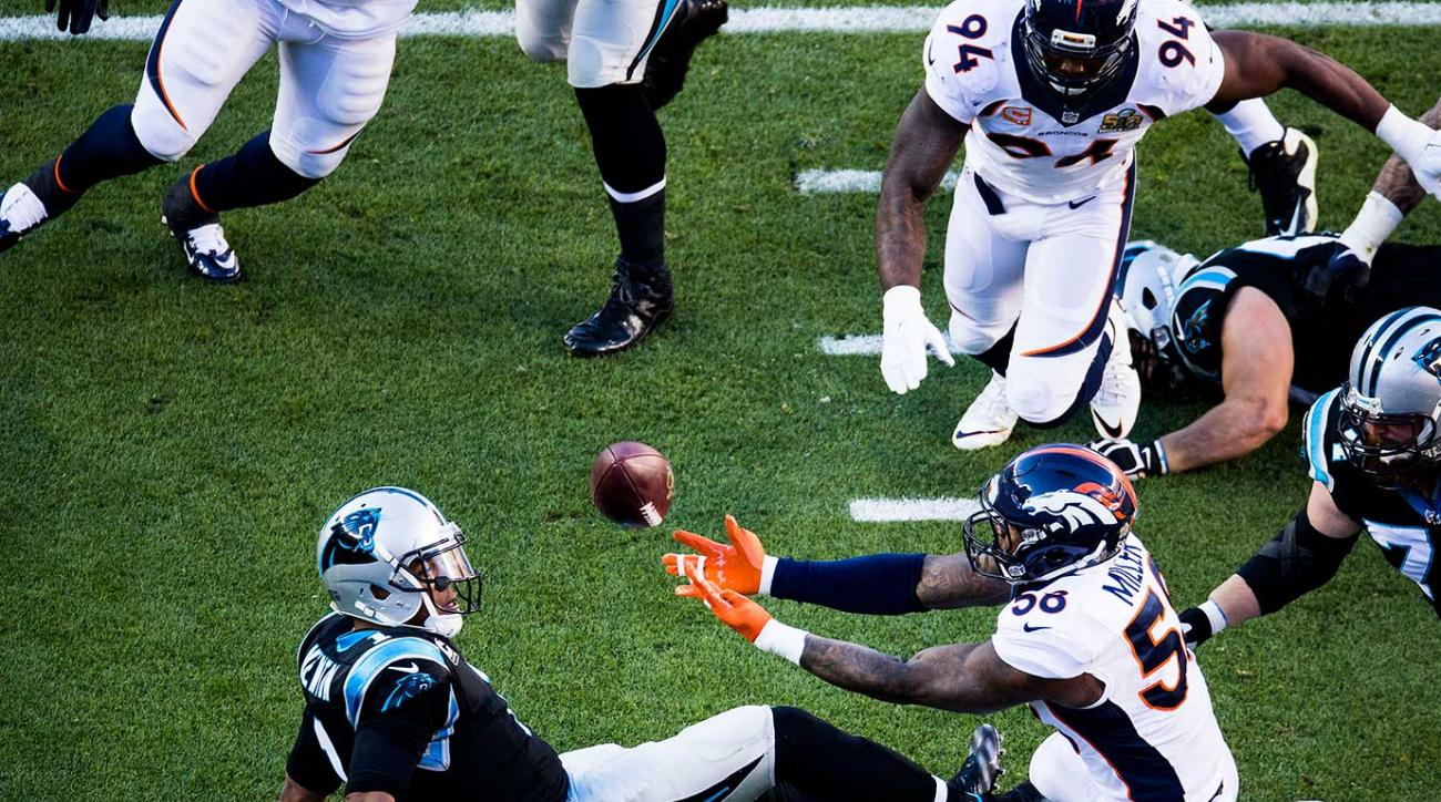 Von Miller stripped sacked Cam Newton on this play, leading to a touchdown.