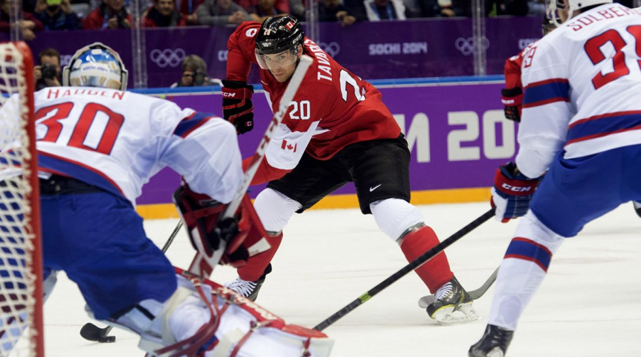 Team Canada's John Tavares looks to take a shot against Norway goalie Lars Haugen in Olympic action in Sochi.