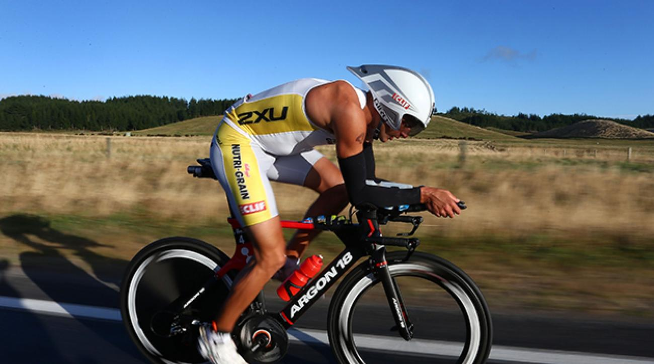 Terenzo Bozzone during the New Zealand Ironman.