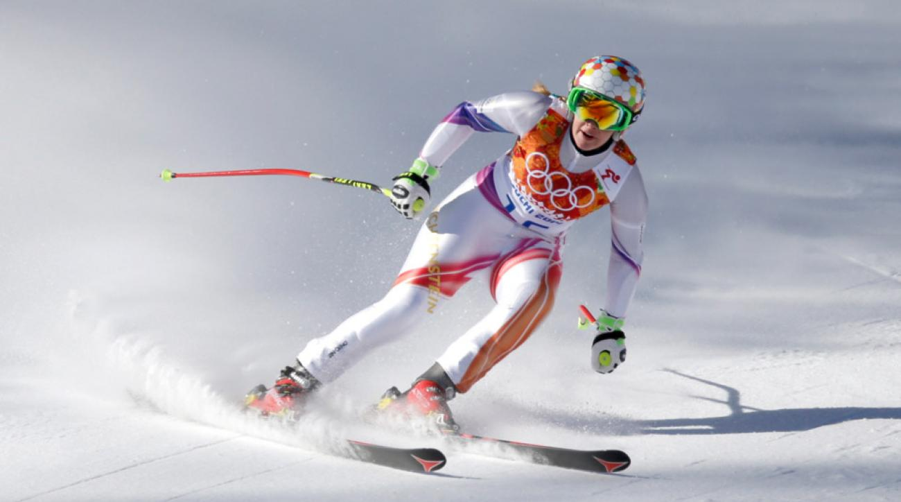 Liechtenstein's Tina Weirather comes to a halt at the end of a women's downhill training run for the Sochi the 2014 Winter Olympics