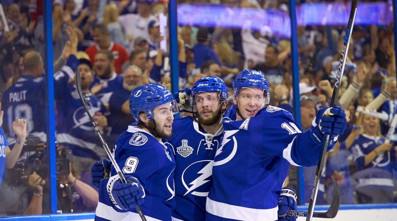 Lightning coach Jon Cooper once said Tyler Johnson, Ondrej Palat and Nikita Kucherov are so in synch when they're on the ice they're like triplets. Thus was a popular nickname born. Comprised of an American (Johnson), a Czech (Palat) and a Russian (Kucherov), the line's formidable mix of speed, skill (a combined 74 goals and 200 points) and smarts was a key to Tampa Bay's run to the 2015 Stanley Cup Final. The trio also finished in the NHL's top four in plus/minus: Kucherov (+38, tied for first), Johnson (+33, third), Palat (+31, fourth).