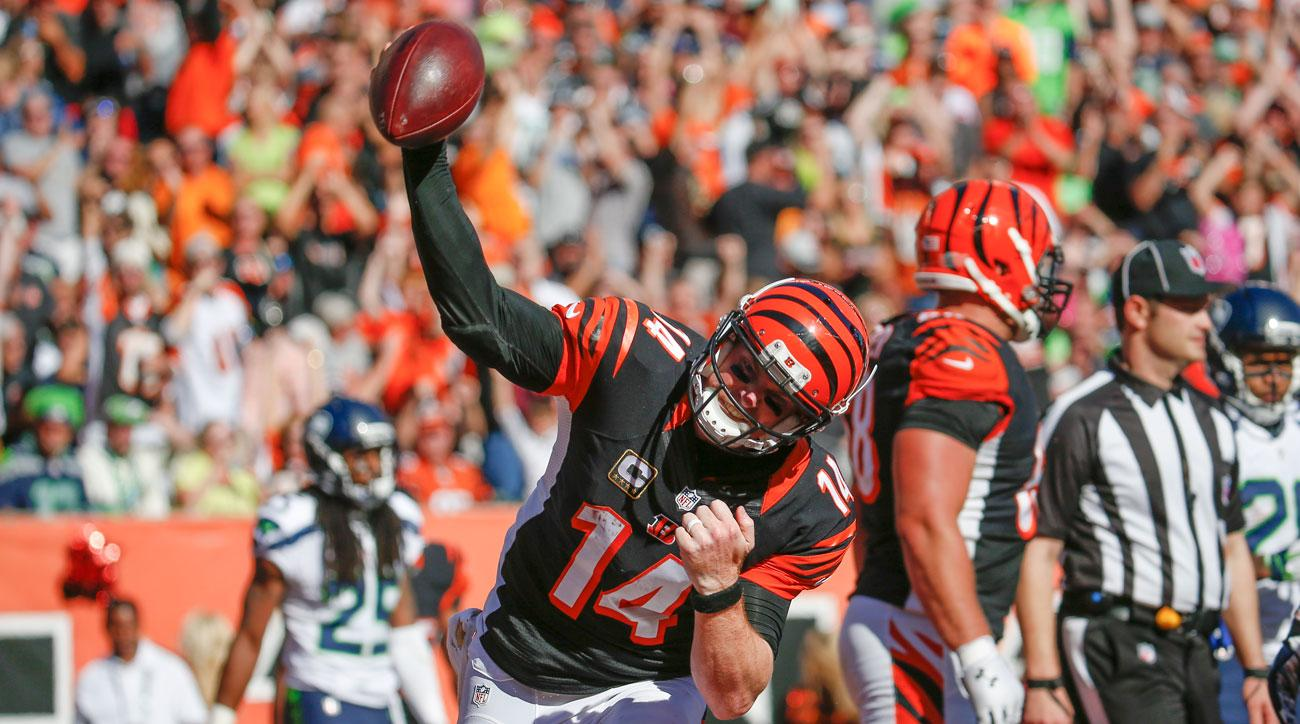 Andy Dalton spikes the ball during the Bengals' comeback win over the Seahawks in Week 5, 2015.