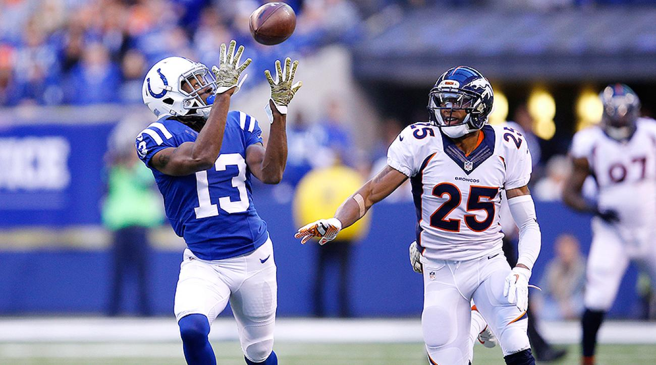 Aqib Talib (right) gets burned by T.Y. Hilton in their Week 9 matchup.