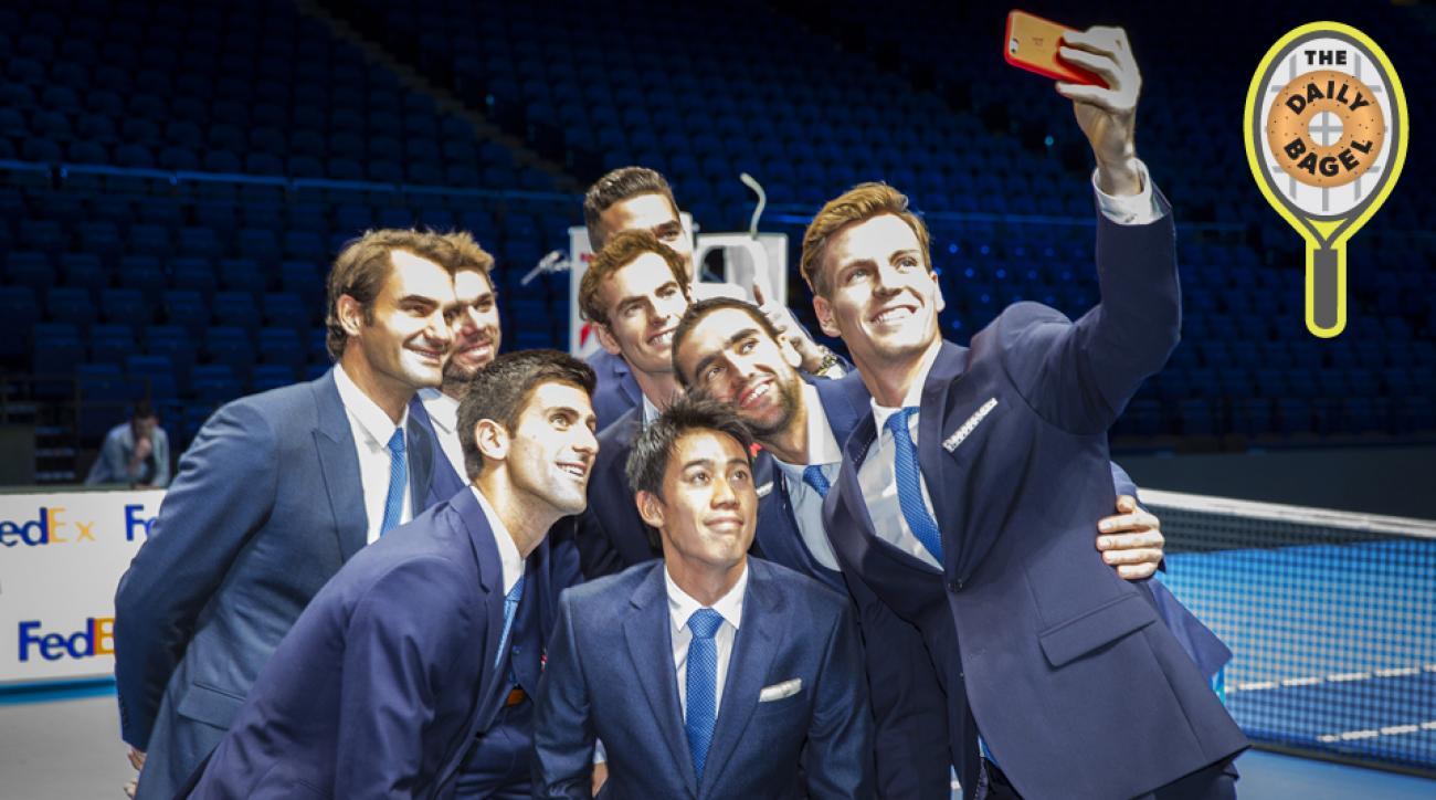 Tomas Berdych takes a group selfie of Stan Wawrinka, Milos Raonic, Novak Djokovic, Kei Nishikori, Andy Murray, Roger Federer and Marin Cilic prior to the start of the ATP World Tour Finals.