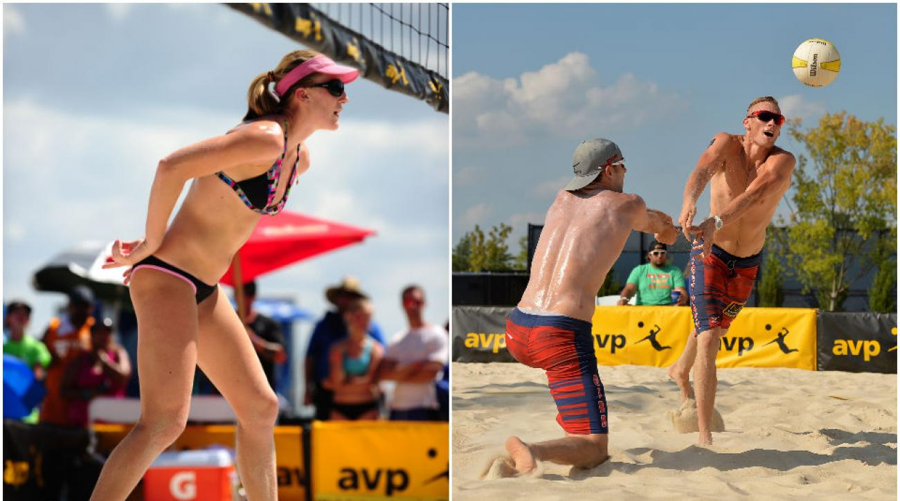 Emily Day (L) and her partner Summer Ross will be taking on the women's field in the upcoming AVP Tour, while teammates Jake Gibb (R) and Casey Patterson (R) will be looking to dominate in the Men's division.