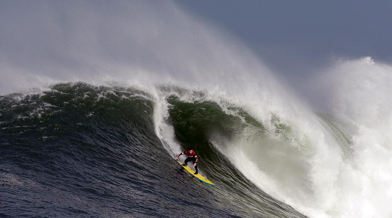 Surfers out at Mavericks in Half Moon Bay, Calif.