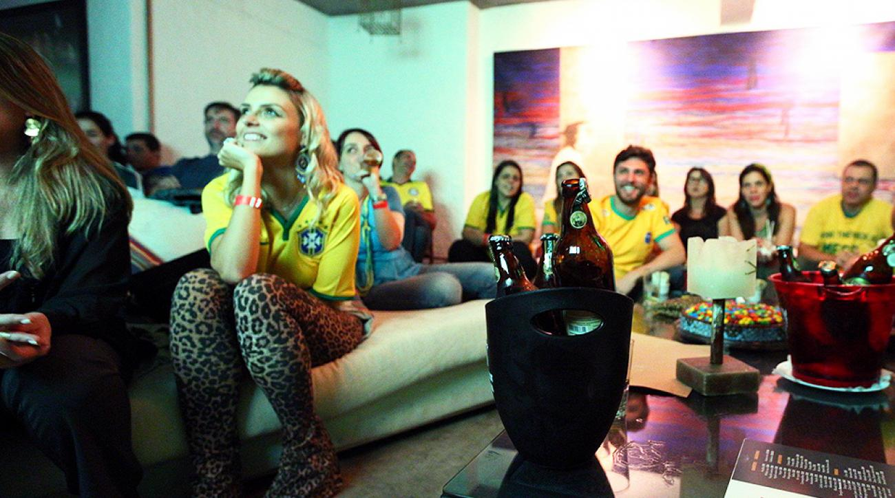 Brazilian fans watching the World Cup at Che Barbaro in the Vila Madalena area in Sao Paulo, Brazil.