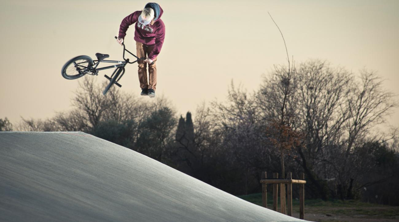 Anthony Perrin performs a tailwhip in Nimes, France on February 23rd, 2013.