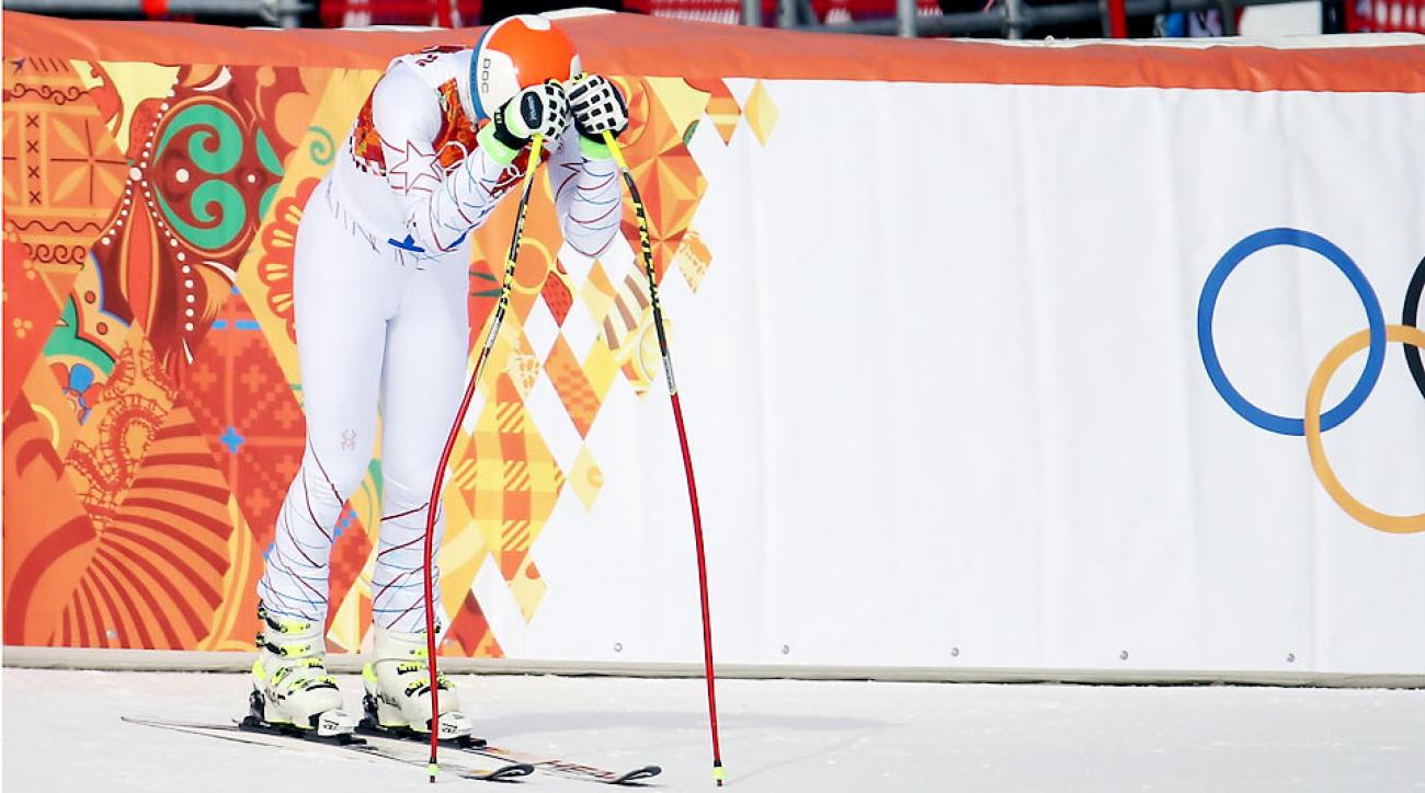 Bode Miller said he was merely reviewing the race in his mind before talking to the media as he hunched over following his eighth-place run.