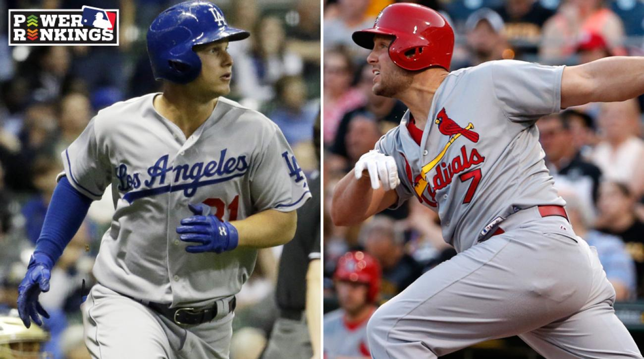 L: Joc Pederson of the Dodgers. R: Matt Holliday of the Cardinals.