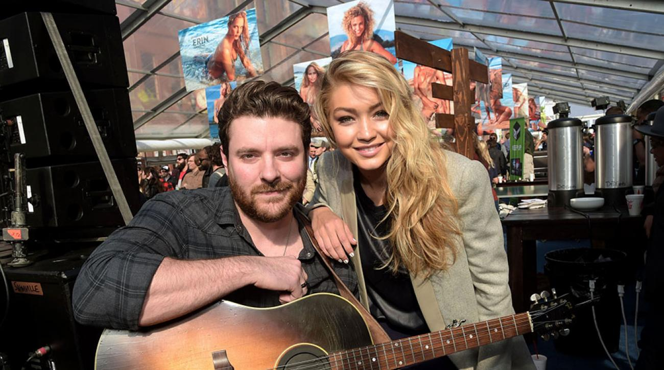 Chris Young and model Gigi Hadid at SwimVille